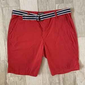 MENS EXPRESS RED SHORTS WITH NAVY BELT